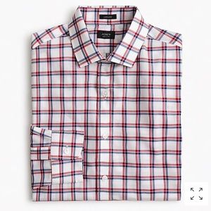 J. Crew Ludlow slim fit red blue tattersall shirt